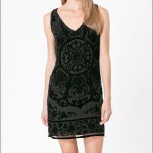 Hale Bob black silk velvet burnout mini dress